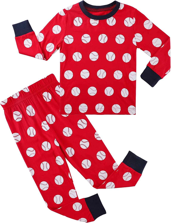 A&J DESIGN Baby Toddler Pajamas for Boys 100% Cotton Baseball Pjs