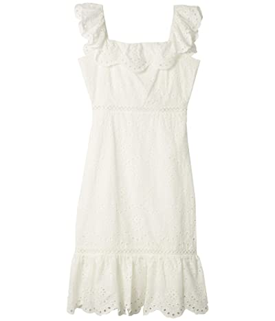 Sam Edelman Eyelet Ruffle Neck Dress (White) Women