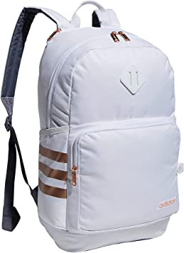 adidas Classic 3S 4 Backpack, White/Onix Grey/Rose Gold, One Size