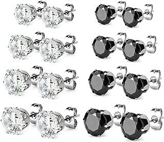 Stainless Steel Cubic Zirconia Stud Earrings for Women Girls Set of 8 Pairs Hypoallergenic