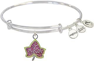 Pink Ivy Alpha Kappa Alpha Inspired Love Bangle- Silver