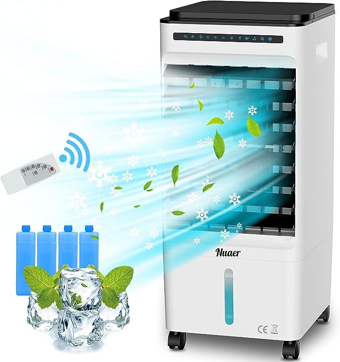 Raffreddatore d`aria 5l 65w ventilatore del condizionatore 4-in-1 con 4 cristalli di ghiaccio nuaer B08R5VQQWG