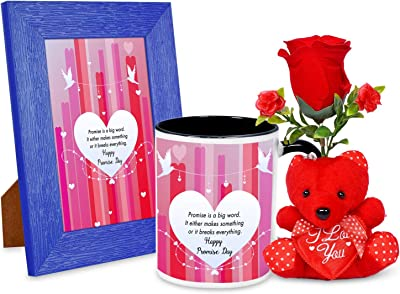 Promise is a Big Word Happy Promise Day Valentines Day Quotation Photo Frame & Mug Combo with 1 Rose & Red Teddy