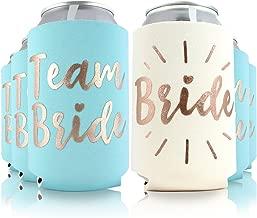 11pc or 6pc Set Team Bride & Bride Drink Coolers for Bachelorette Parties, Bridal Showers & Weddings - 4mm Thick Bottle Cooler Sleeves/Can Coolies/Beverage Insulators (11pc Set, Lt Blue)