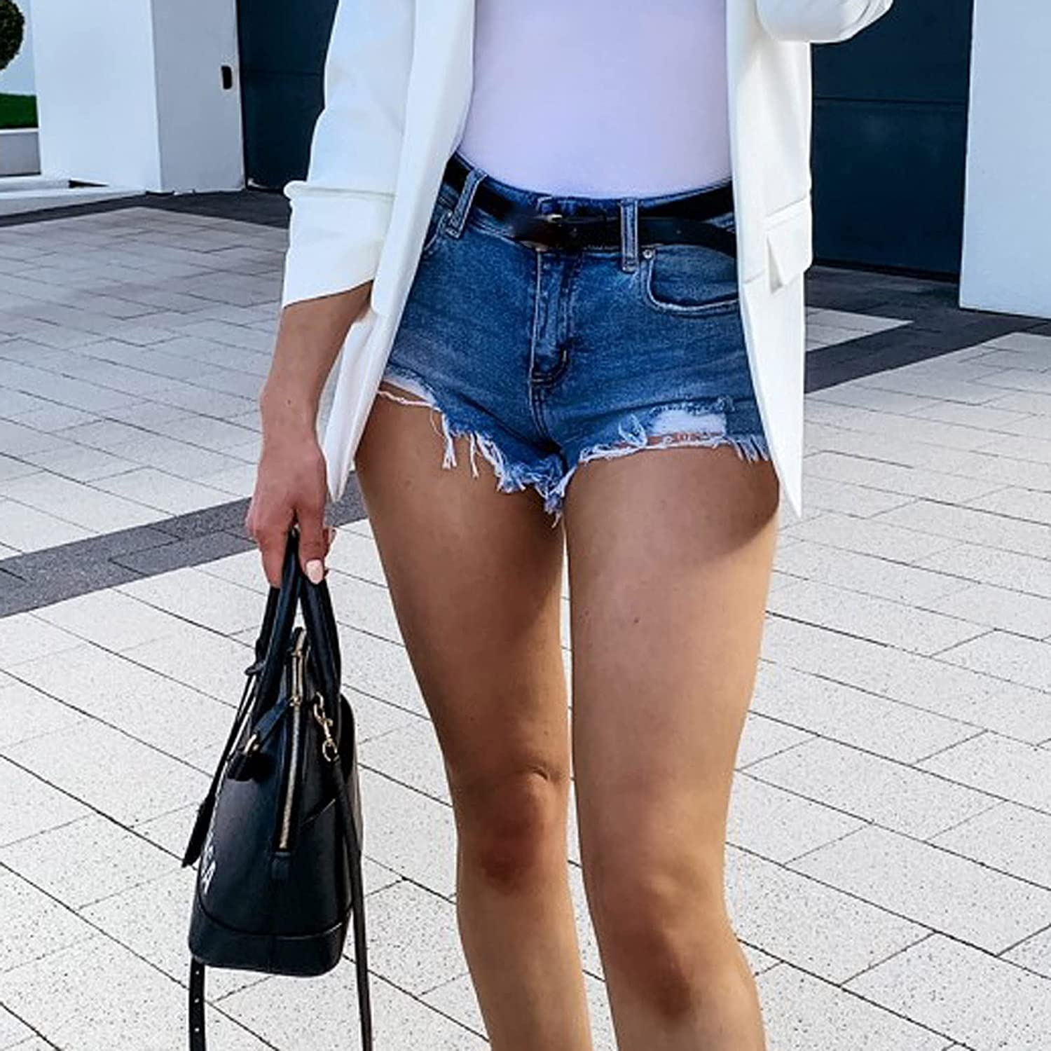 Denim Shorts for Women Distressed Frayed Raw Hem Ripped Jeans Shorts with Pockets Stretchy Hot Short Jeans