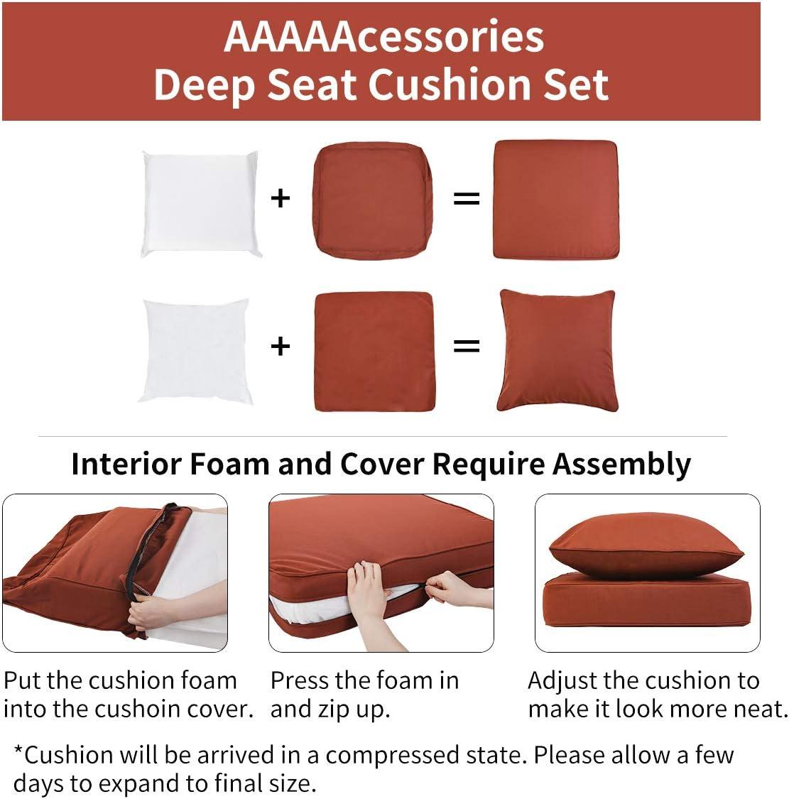 Replacement Patio Furniture Cushions Beige 24 x 24 x 5 Inch AAAAAcessories Outdoor//Indoor Water-Resistant Deep Seat Chair Cushion Set