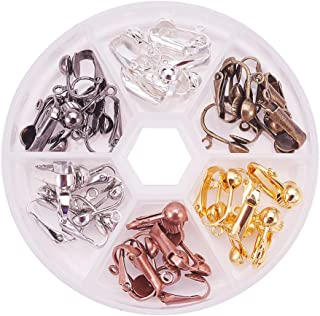 PandaHall Elite 36 Pcs Brass Clip-on Earring Converter Component 17x14x7mm for Non-Pierced Ears 6 Colors