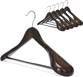 StorageWorks 6-Pack Suit Hanger Wide Shoulder Solid Wooden Coat Hangers with Anti-Rust 360 Degree Swivel Hook Retro Finish