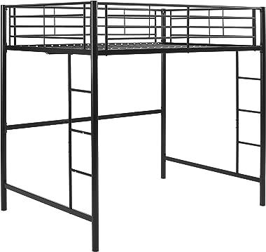 Walker Edison Furniture Company Modern Metal Pipe Full Double Size Loft Kids Bunk bed Bedroom Storage Guard Rail Ladder, Blac