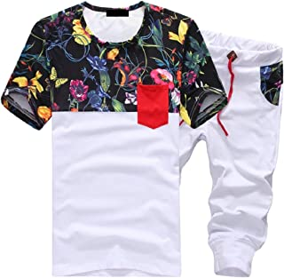 Maweisong Men Two Piece Short Sleeve Print Drawstring Waist Top Shorts Suits Tracksuits