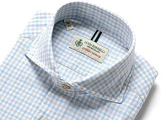 ルイジボレッリ ルイジボレリ LUIGI BORRELLI / 20SS!製品洗いリネンコットンポプリンチェックホリゾンタルカラーシャツ「NA35(9034)」 (サックスブルー×グレージュ×ホワイト) メンズ