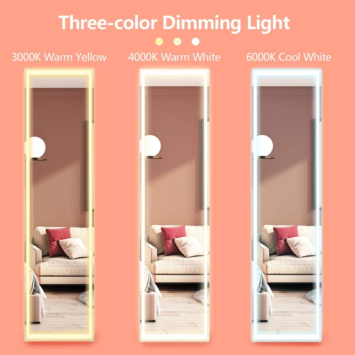 Large Hanging Mirror LVSOMT 63x15 LED Full-Length Mirror Floor Mirror /& Wall Mirror Free Standing Mirror 3 Color Modes Lighted Makeup Vanity Mirror with Remote Control White Full Body Mirror