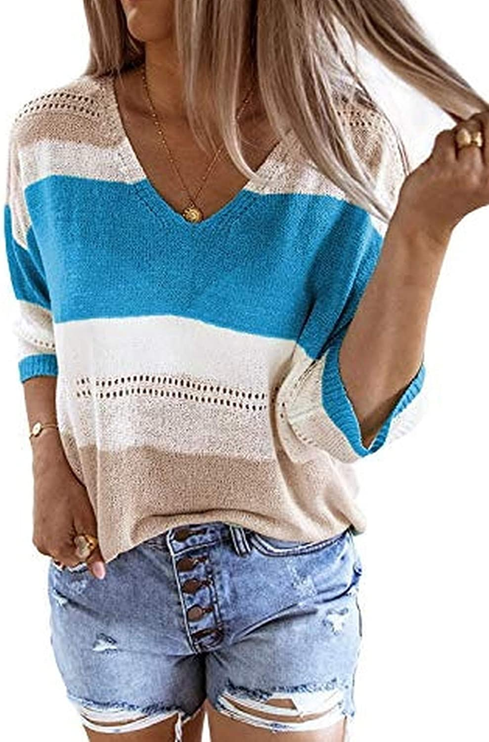 Chainscroll Womens Color Block V Neck Tops Striped Knit 3 4 Sleeve T Shirt Casual Loose Blouse Shirts