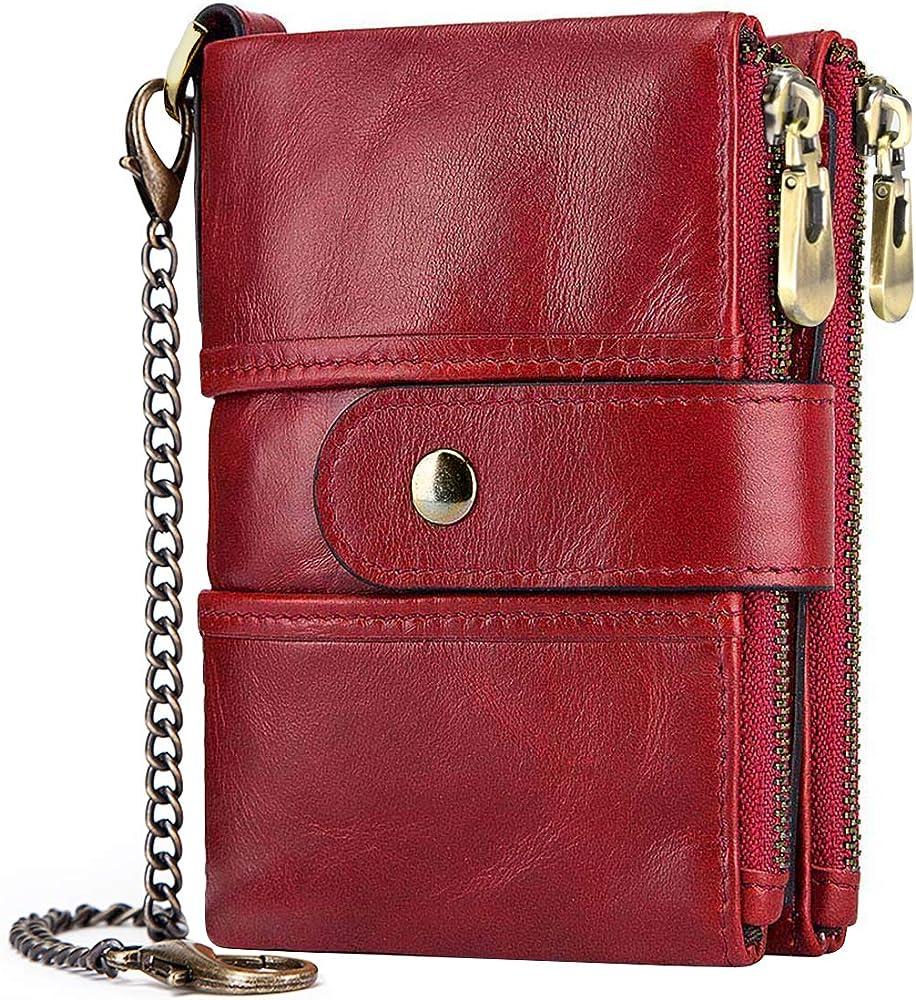 Teuen portafoglio da donna in pelle vera porta carte di credito con protezione anticlonazione rosso
