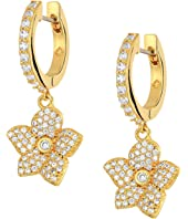Kate Spade New York - Blooming Pave Bloom Drop Huggies Earrings