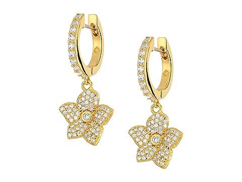Kate Spade New York Blooming Pave Bloom Drop Huggies Earrings