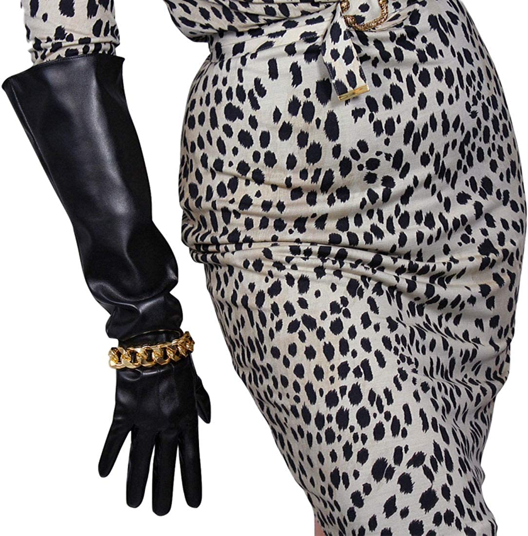 TECH LONG GLOVES Black Faux Leather Elbow 50cm Wide Sleeves Large Golden Chain