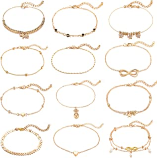 Starain 12 Pcs Gold Stars Ankle Bracelet for Women Layered Beach Adjustable Chain Anklet Set