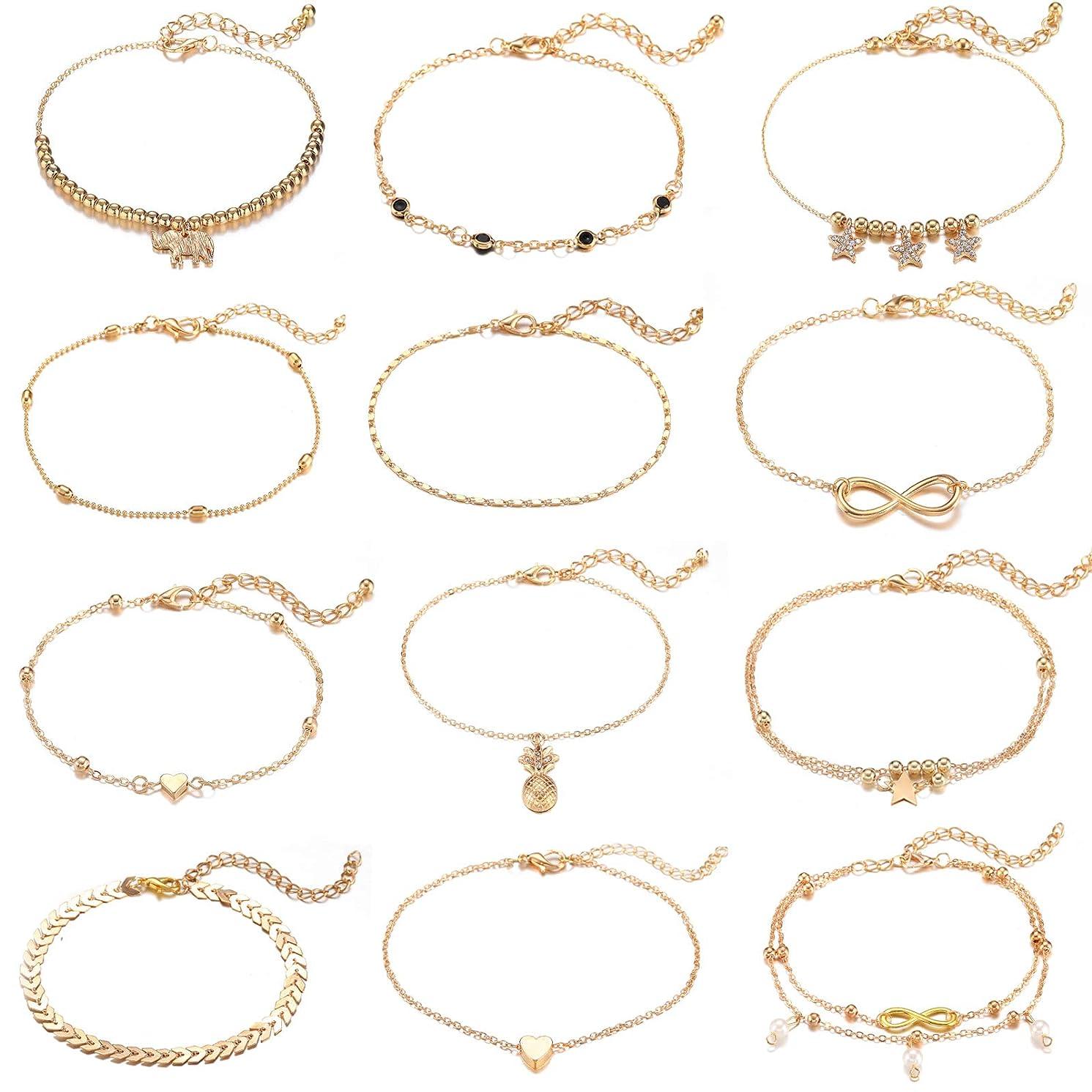 Starain 12 Pcs Gold Stars Ankle Bracelet for Women Girls Layered Beach Adjustable Chain Anklet Set