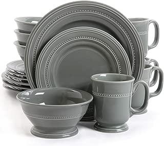 Gibson Elite Barberware 16 Piece Dinnerware Set, Gray