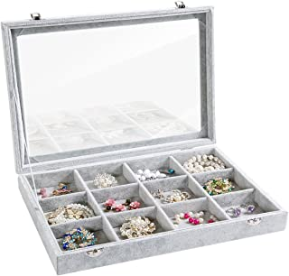 Valdler Clear Lid 12 Grid Jewelry Tray Showcase Display Storage