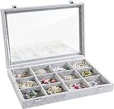 Valdler Clear Lid 12 Grid Jewelry Tray Showcase Display Storage