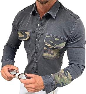 pipigo Men Lapel Neck Cargo Hip Hop Plus Size Multi Pocket Button Down Shirts