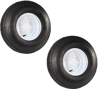 Two Trailer Tires On Rims 5.70-8 570-8 5.70 X 8 8 in. B 5 Lug Bolt Wheel White