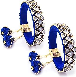 HATHKAAM Bracelet for Women Indian Crystal Kundan Bangle Jewelry with Latkan Silk Thread Tassels