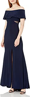 Xscape Women's Long Ity Off The Shoulder Dress with Illusion Insets