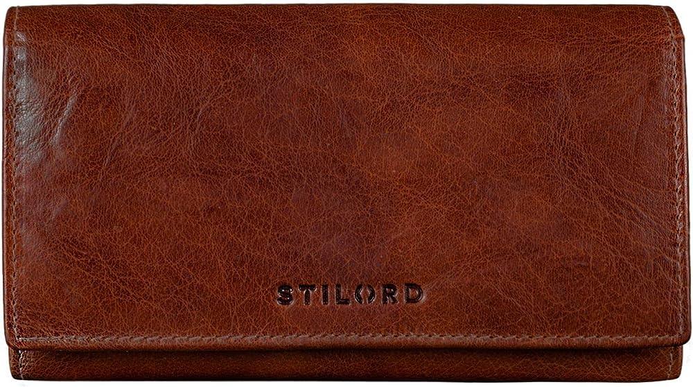 Stilord `marquesa` portafoglio da donna in pelle porta carte di credito con protezione anticlonazione Brandy - Marrone