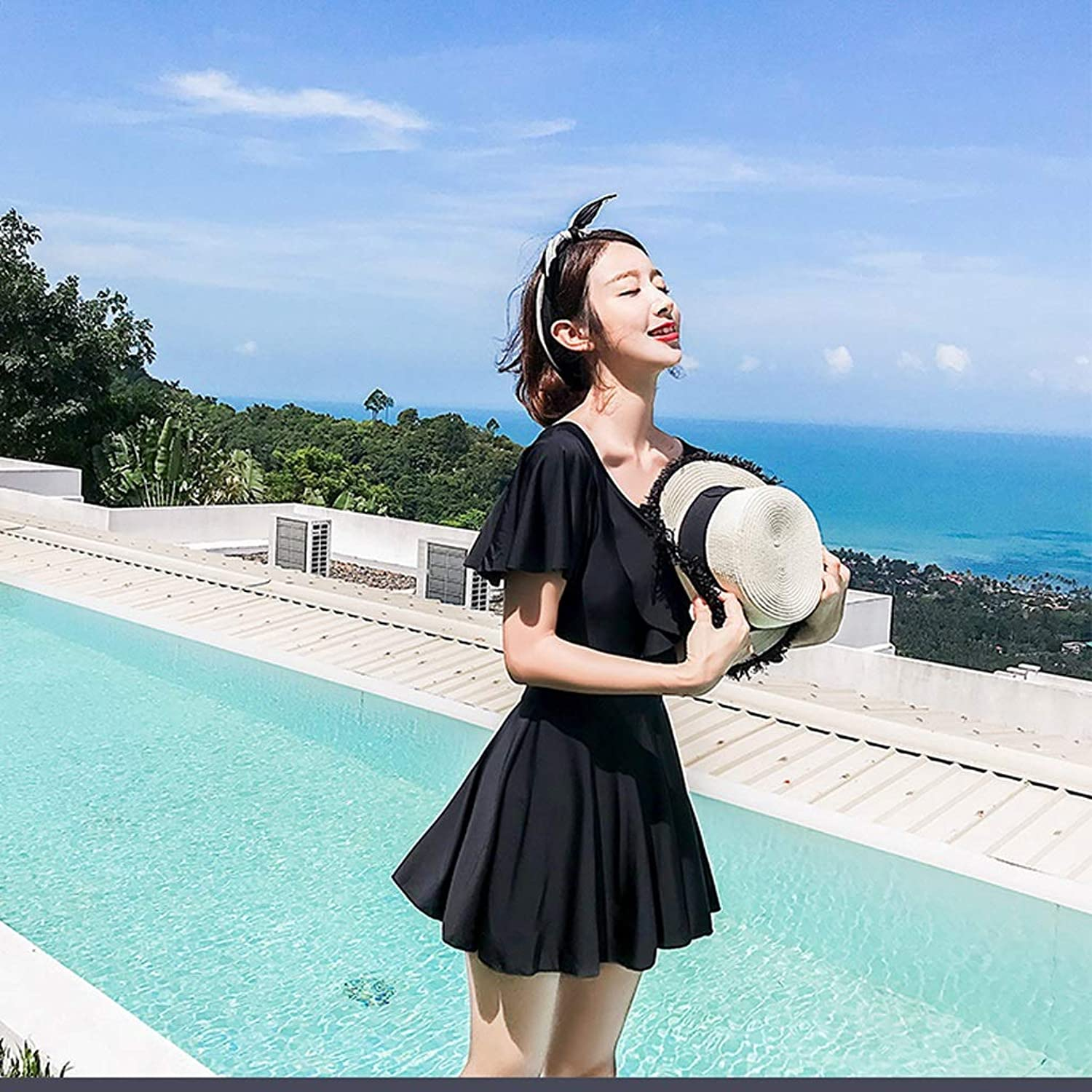 Hzpxsb Swimsuit Female Siamese Flat Angle Covered Belly was Thin Conservative Skirt Style Large Size Gathered Sexy Korean Hot Spring (Size   XL)