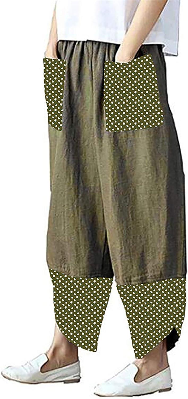 Abtel Womens Cotton-Linen Harem Pants Baggy Boho Smocked Waist Joggers with Pockets Wide Leg Lounge Trousers for Yoga Sweatpants Summer Beach