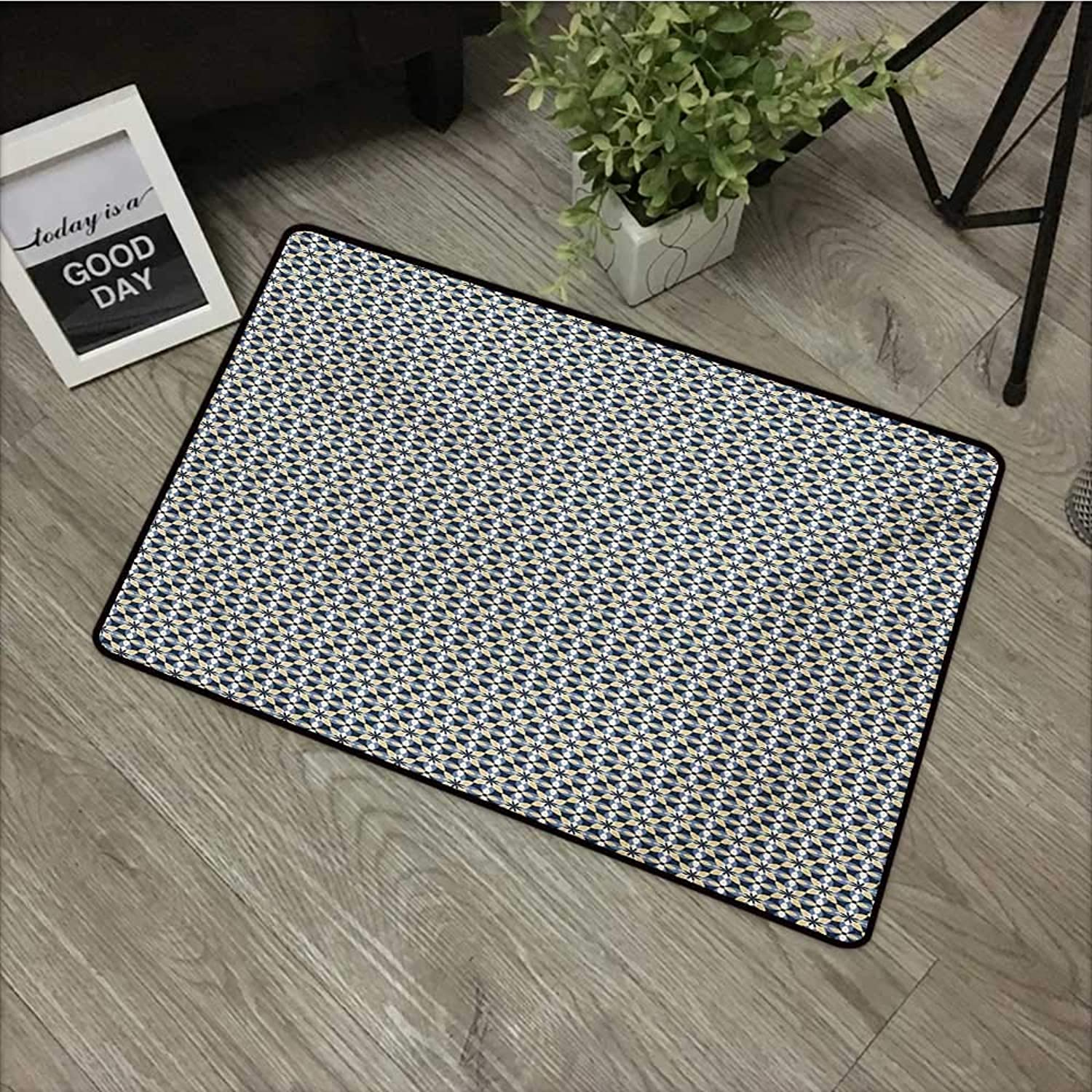 Clear Printed Pattern Door mat W35 x L59 INCH Floral,Overlapping Shapes Symmetrical Ornament Tile in bluee and Yellow Shades,Dark bluee Pale Mustard Non-Slip Door Mat Carpet