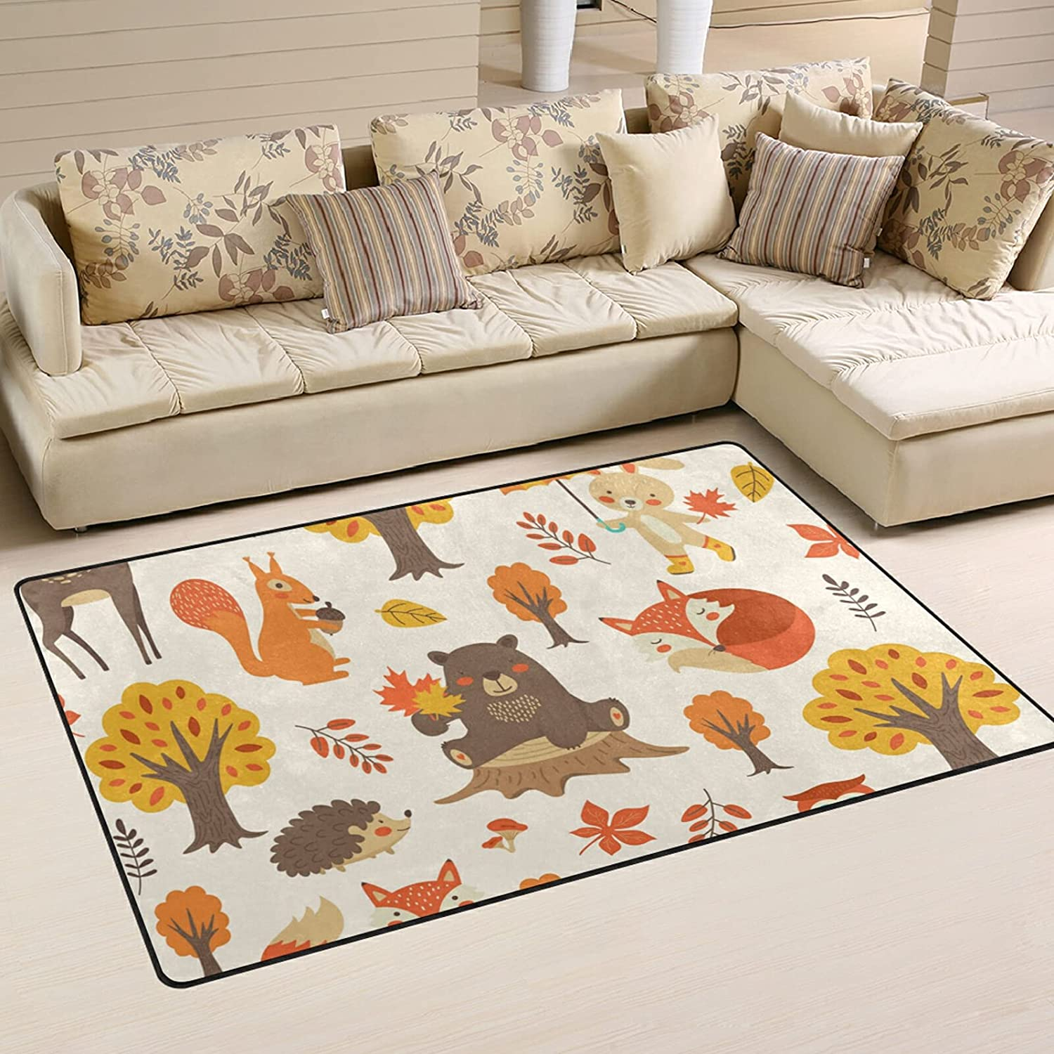 Forest Animals Bear Fox Large Soft Manufacturer OFFicial shop Nursery Rugs Rug Playmat Area High quality