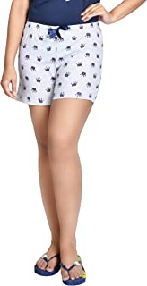 A9 Women's Grey Cotton Printed Shorts