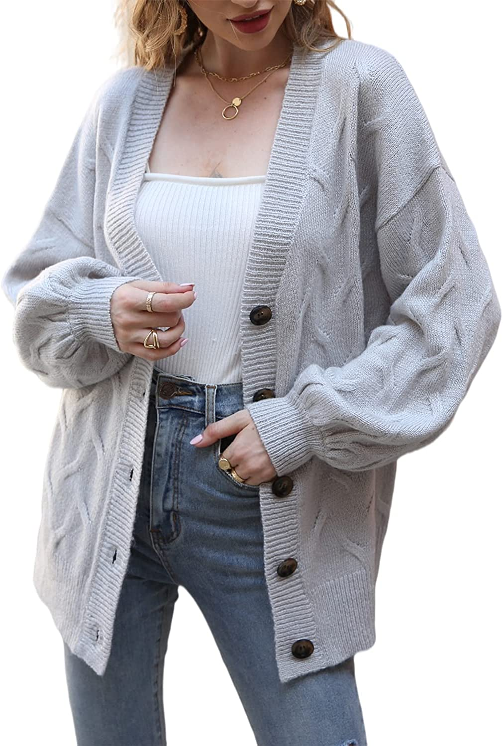 Miessial Women's Lantern Sleeve Cable Knit Cardigans Button Down Loose Fit Kimono Cardigan Sweaters