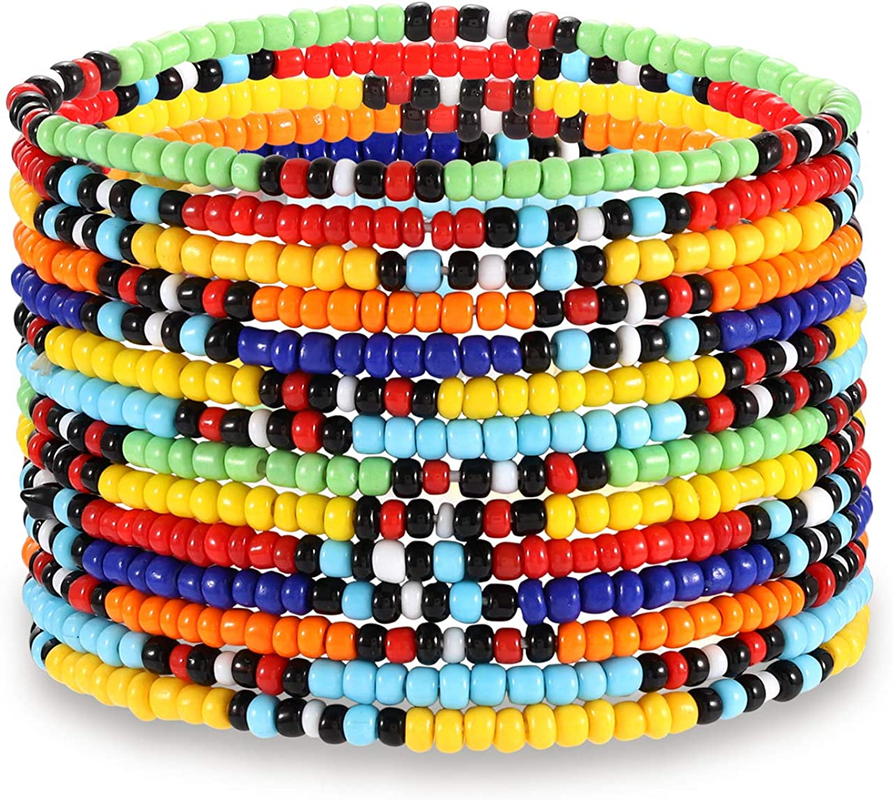 HEIDKRUEGER Seed Bead Stretch Bracelets Colorful Rainbow Tiny Beaded Stackable Vsco Bracelets Boho Summer Vacation Adjustable Bangle Bracelet for Women Girls 14Pcs