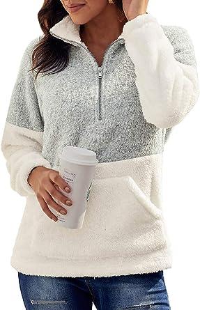 Jywmsc Felpe con Cappuccio Donna Pullover Tops Termico a Manica Lunga Maglione Donna con 1/4 Zip Caldo Ragazza Invernale