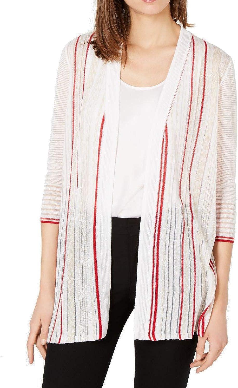 Alfani Women's Cardigan Beige Size Large L Open Front Textured Striped