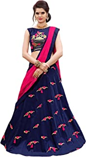 Ethnicset Embroidered Silk Lehenga Choli For Women (Blue)