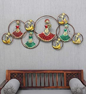 Anantwoodcraft Multi Color Metal Led Musicians Circle 9 Doll Wall Art