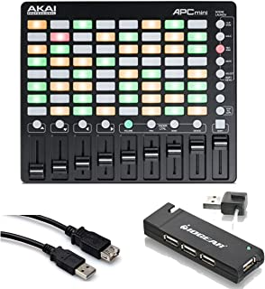 Akai Professional APC mini - Compact Ableton Performance Live Controller with 4-Port USB 2.0 Hub + High Speed USB Extension Cable