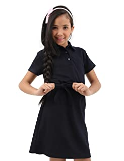 Kady Short-Sleeves Tie-Waist Above Knee Straight Dress For Girls