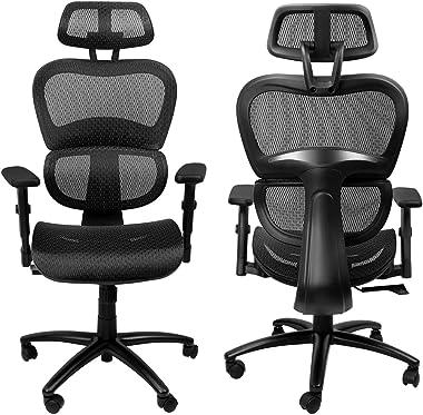 Komene Ergonomic Office Chair - Full Mesh Office Chair with 3D Lumbar Support, 3D Armrest and Adjustable Headrest, Breathable
