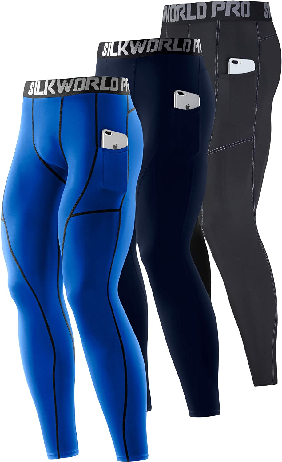 SILKWORLD Men's 1~3 Pack Compression free Dry Pockets Gym Selling and selling Cool Pants