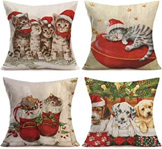 Asamour Xmas Lovely Animals Decorative Pillow Sham Set of 4 Cute Kitten Cat Puppy Dog with Christmas Hat Stocking Mistletoe Design Cotton Linen Throw Pillow Case Cushion Cover 18''x18''