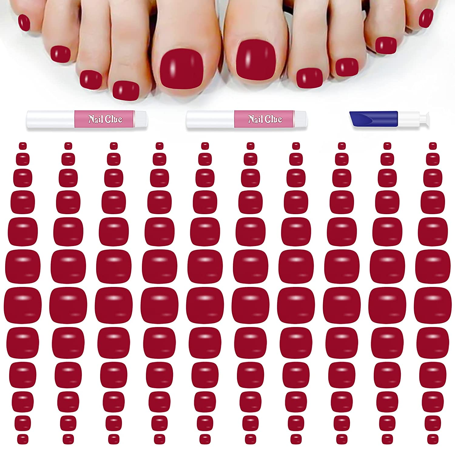 120PCS Max 67% OFF Solid Color Press on for Toe False Glossy Sales Nails