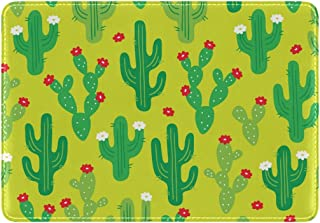 Mydaily Cute Cactus Doodle Leather Passport Holder Cover Case Protector