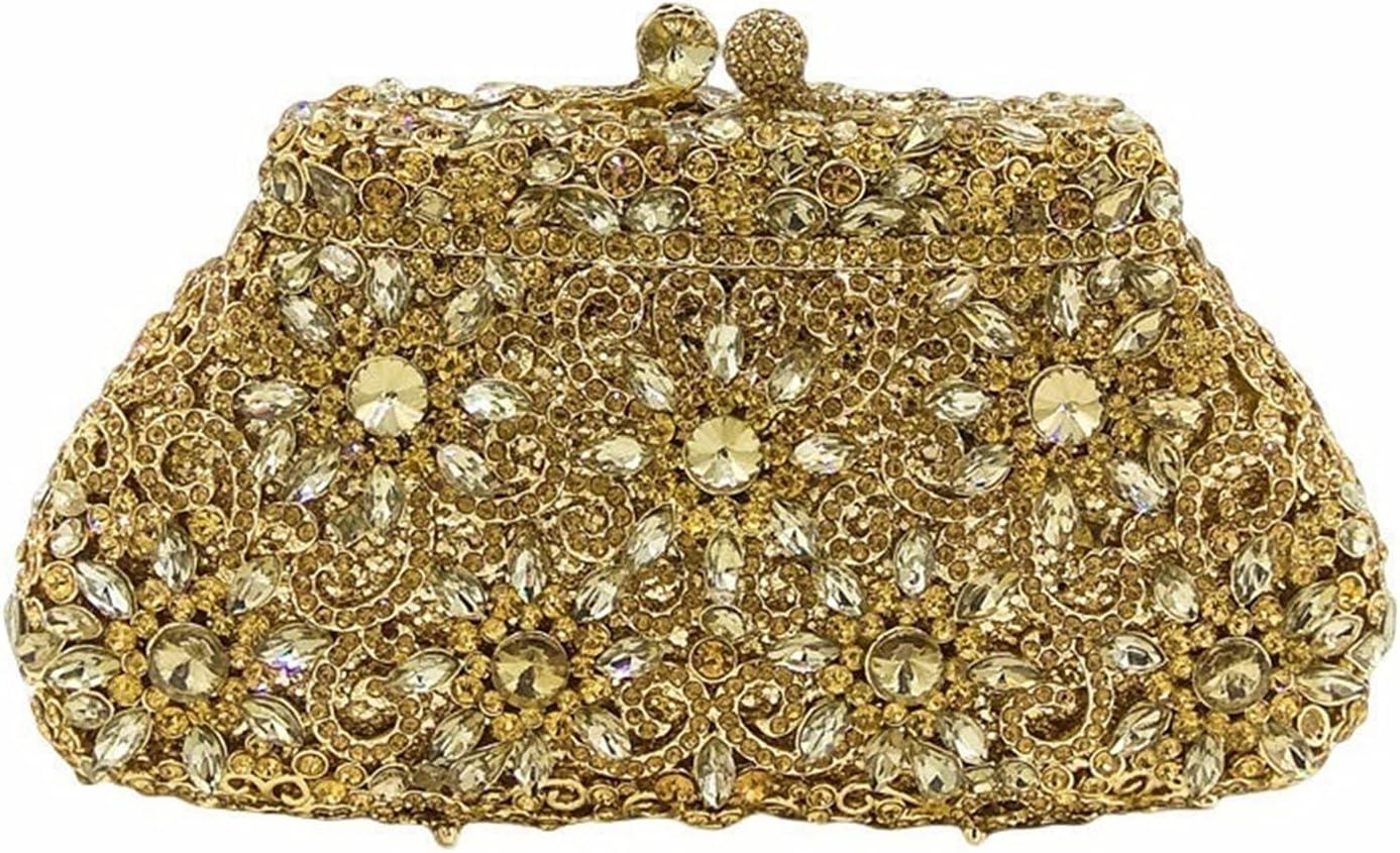 HJUIK Metal Evening Bag Crystal Clutch Bag Women Party Prom Handbags Bridal Wedding Purse Gift (Color : Gold, Size : Small)